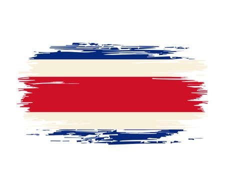 Costa Rican flag brush grunge background. Vector illustration. Vettoriali