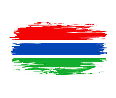 Gambian flag brush stroke grunge background. Vector illustration.