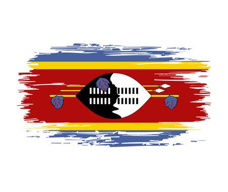Eswatini flag brush grunge background. Vector illustration.