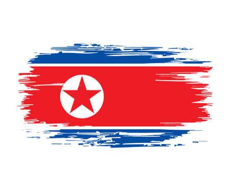 North Korean flag brush grunge background. Vector illustration.