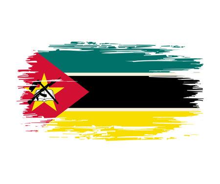 Mozambique flag brush grunge background. Vector illustration.