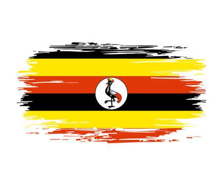 Ugandan flag brush grunge background. Vector illustration. Vettoriali