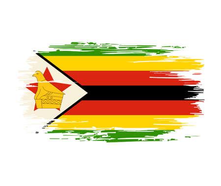 Zimbabwean flag brush grunge background. Vector illustration.