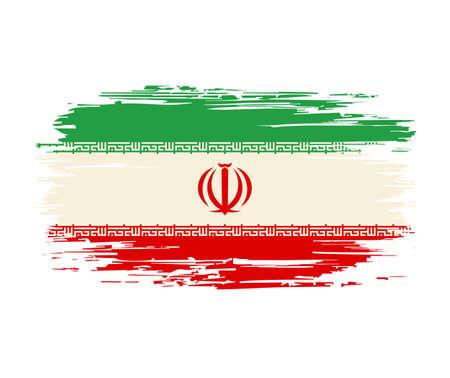 Iranian flag brush grunge background. Vector illustration.