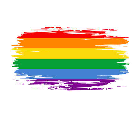 LGBT pride flag brush grunge background. Vector illustration. Vettoriali