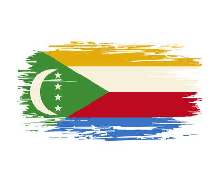 Comoros flag brush grunge background. Vector illustration. Vettoriali