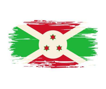 Burundian flag brush grunge background. Vector illustration.