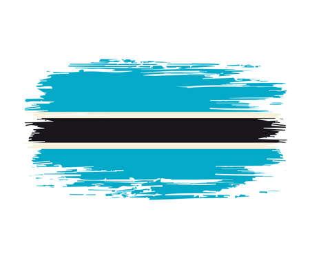 Botswanan flag brush stroke grunge background. Vector illustration. Vettoriali
