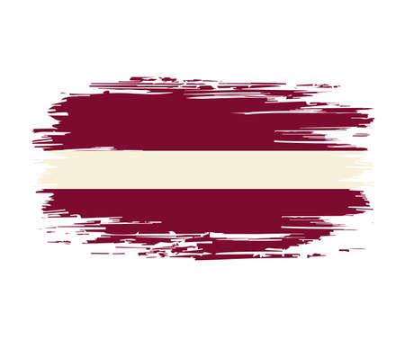 Latvian flag brush stroke grunge background. Vector illustration.