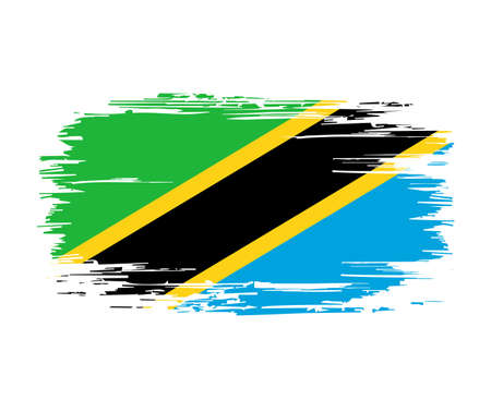 Tanzanian flag brush stroke grunge background. Vector illustration. Vettoriali
