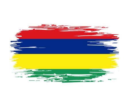 Mauritius flag brush grunge background. Vector illustration.