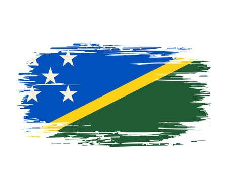Solomon Islands flag brush grunge background. Vector illustration.