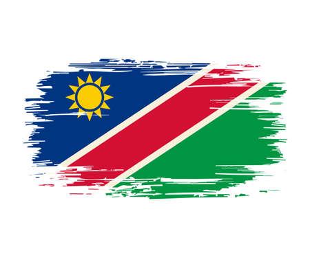 Namibian flag brush grunge background. Vector illustration.