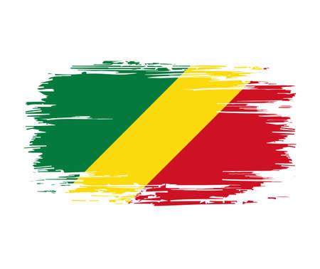Congolese flag brush grunge background. Vector illustration.