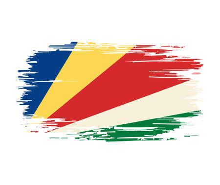 Seychelles flag brush grunge background. Vector illustration. Vettoriali