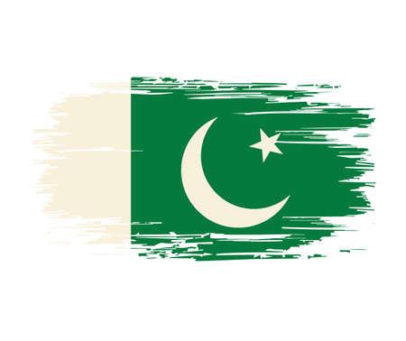 Pakistani flag brush grunge background. Vector illustration.