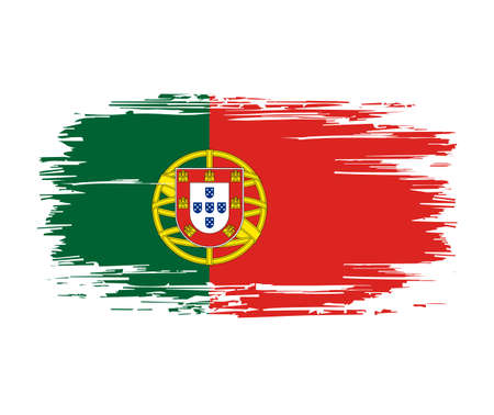 Portuguese flag brush grunge background. Vector illustration.