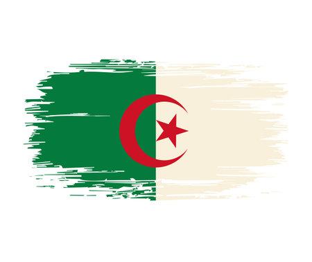 Algerian flag brush grunge background. Vector illustration.
