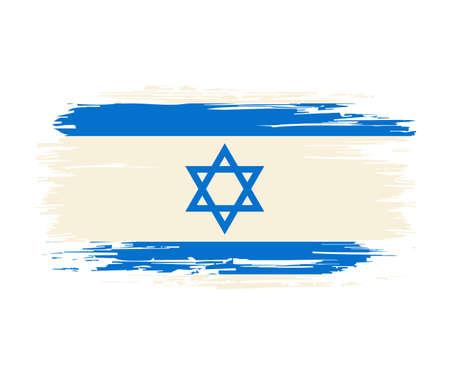Israeli flag brush grunge background. Vector illustration.