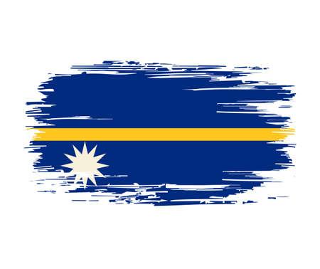 Nauru flag brush grunge background. Vector illustration.