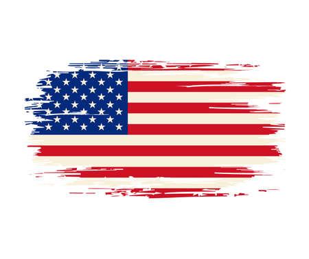 American flag brush grunge background. Vector illustration. Vettoriali