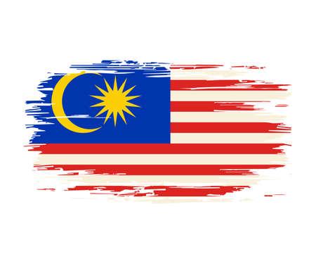 Malaysian flag brush grunge background. Vector illustration.