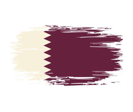 Qatari flag brush grunge background. Vector illustration.