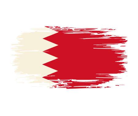 Bahraini flag brush grunge background. Vector illustration.