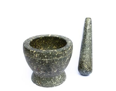 Stone mortar on white background Stock Photo - 19060423