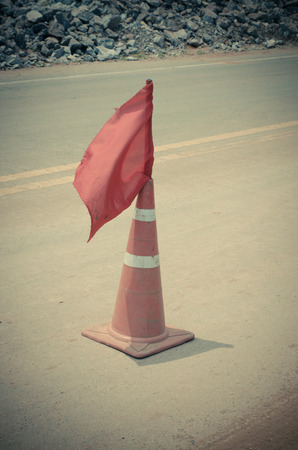 Traffic cones in a construction site Stock Photo