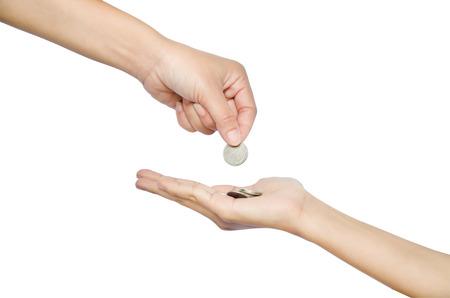cash money: mano dar dinero en el fondo blanco Foto de archivo