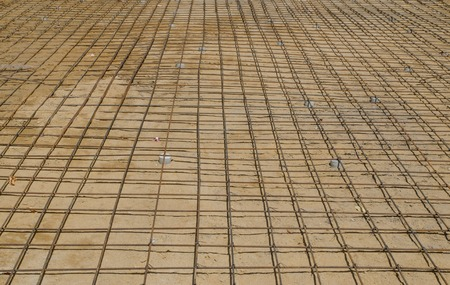 the Steel bars mesh reinforcement before pouring concrete photo
