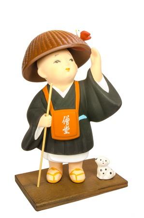 clergyman: Buddhist monasticism cartoon, japanese souvenir Stock Photo