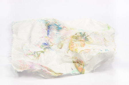 Crumpled dirty tissue paper isolated background. photo