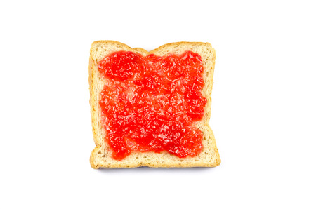strawberry jam sandwich: delicious slice of bread with strawberry jam