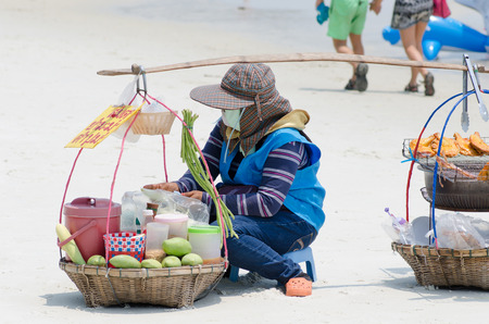 Rayong Koh Samet, Thailand - March 15: Unidentified vendor on the beach on March 15, 2015 photo