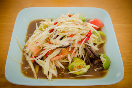 somtum: Somtum, papaya salad delicious food in thailand,Close-up Stock Photo