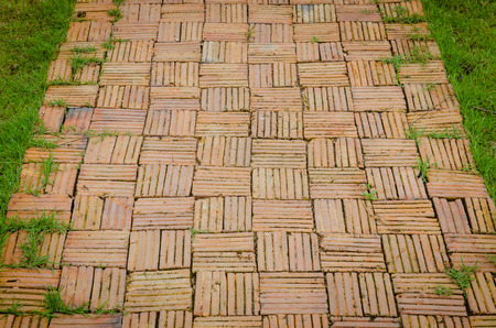 constructed: A garden walkway constructed of old bricks and mortar.