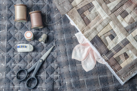 patchwork quilt: Quilting, Tailoring Hobby Accessories. Sewing Craft Kit Stock Photo
