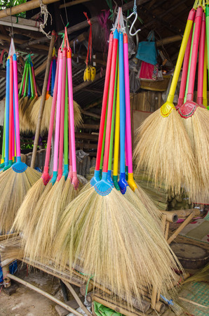 multi colors: Multi colors dry grass broom, hand made from nature in Thailand.