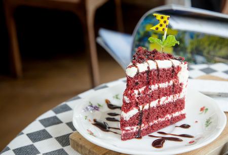 coffe break: red velvet cake on the table in coffe break time