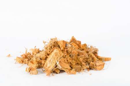 Coconut husk pieces for planting trees on white background