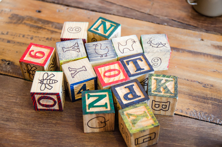 studio b: Variety wooden blocks on wooden table Foto de archivo