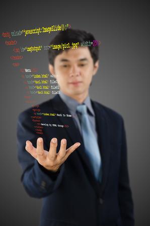 meta tags: programmer writing HTML code
