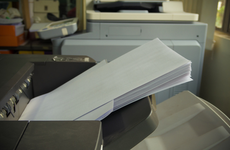 xerox: printer tray in copy machine with paper Stock Photo