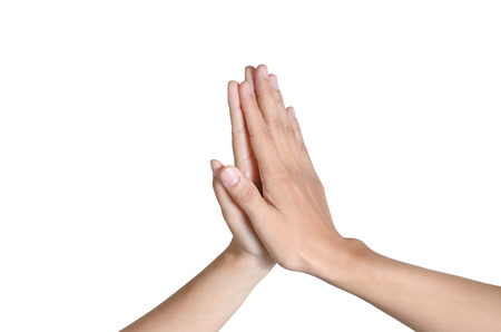 arthritic: two hands of Asian people making hi-five gesture