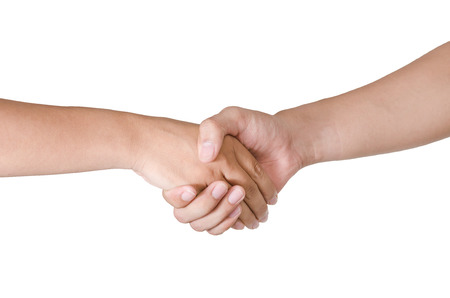 shaking: Shaking hands of two male people, isolated on white