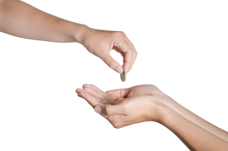 pauper: hand give money isolate on white background