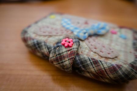 handmade of fabric quilting purse Stock Photo