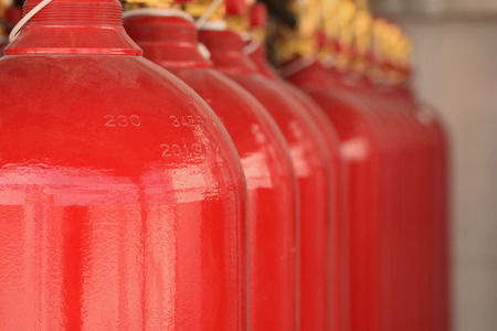 CO2 fire extinguishers in a petrochemical plant. photo
